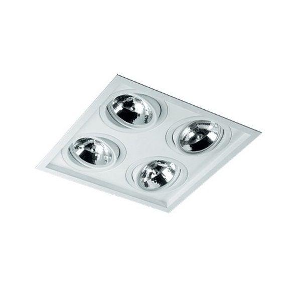 Plafon Spot Embutir Direcionável 4 Lâmpadas AR111 Branco RL