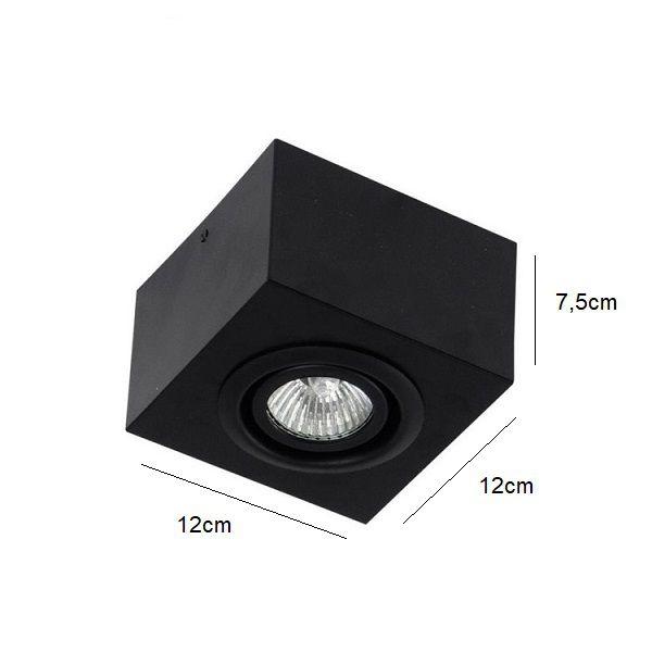 Plafon Spot Sobrepor Direcionável 1 Lâmpada Dicróica Preto RL