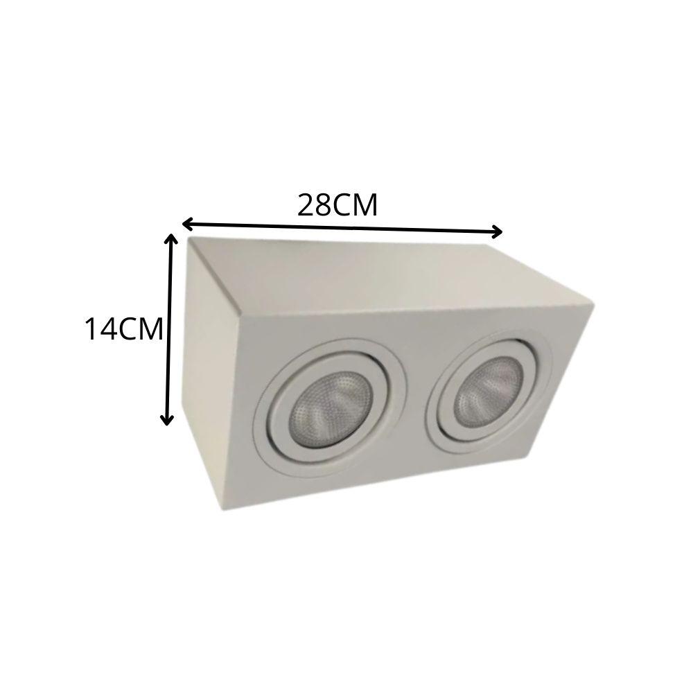 Plafon Spot Sobrepor Direcionável 2 Lâmpadas Par20 Branco RL