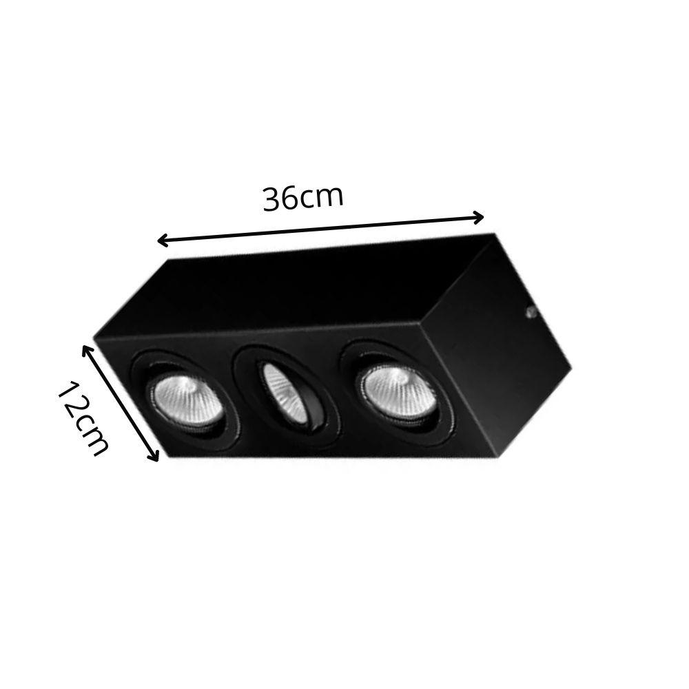 Plafon Spot Sobrepor Direcionável 3 Lâmpadas Dicróica Preto