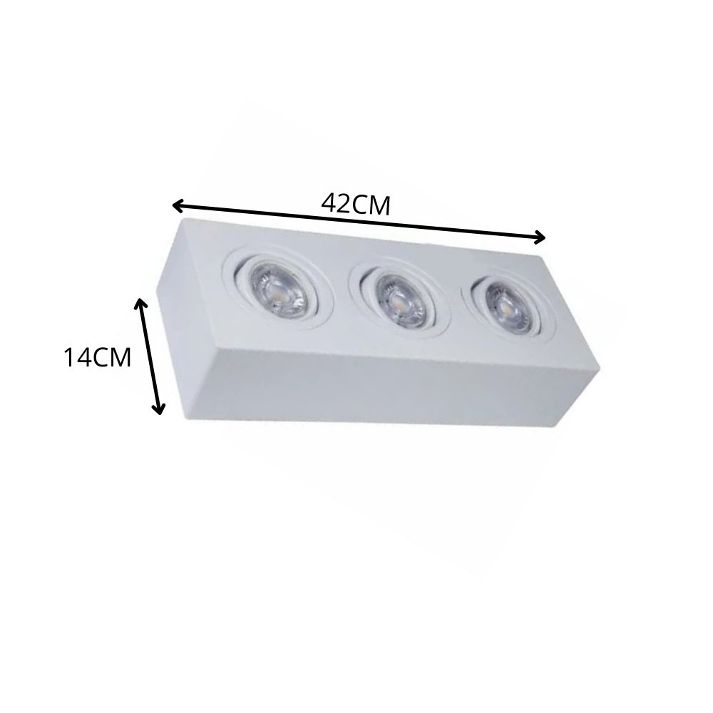 Plafon Spot Sobrepor Direcionável 3 Lâmpadas Par20 Branco RL