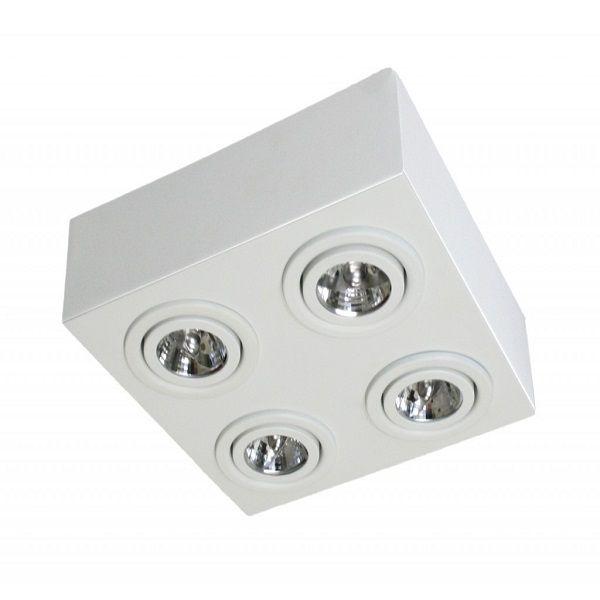 Plafon Spot Sobrepor Direcionável 4 Lâmpadas AR111 Branco