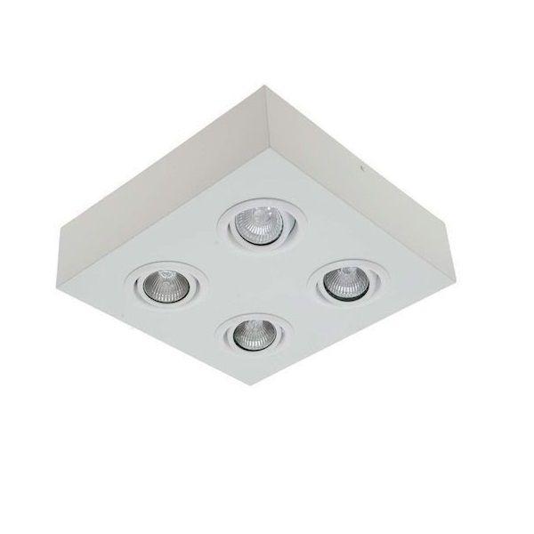 Plafon Spot Sobrepor Direcionável 4 Lâmpadas Dicróica Branco RL