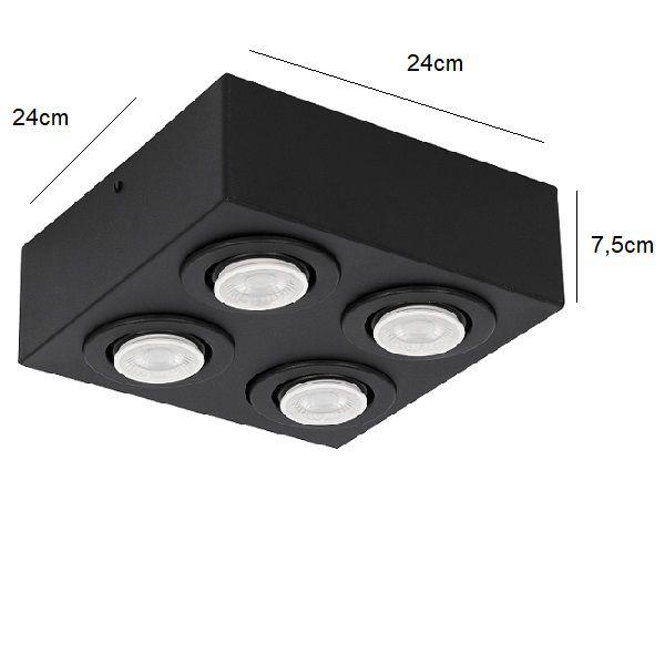 Plafon Spot Sobrepor Direcionável 4 Lâmpadas Dicróica Preto RL