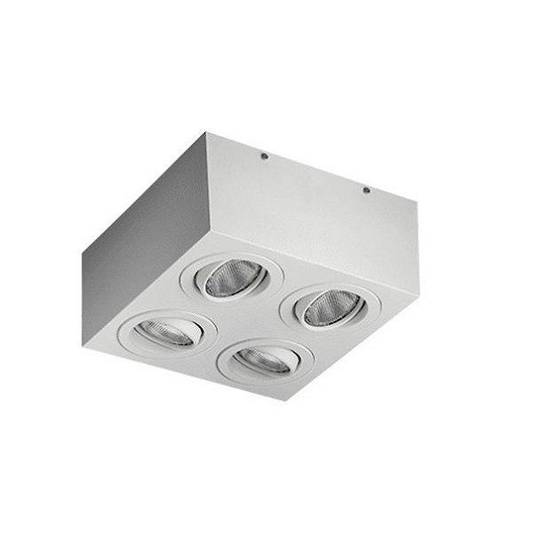 Plafon Spot Sobrepor Direcionável 4 Lâmpadas Par20 Branco