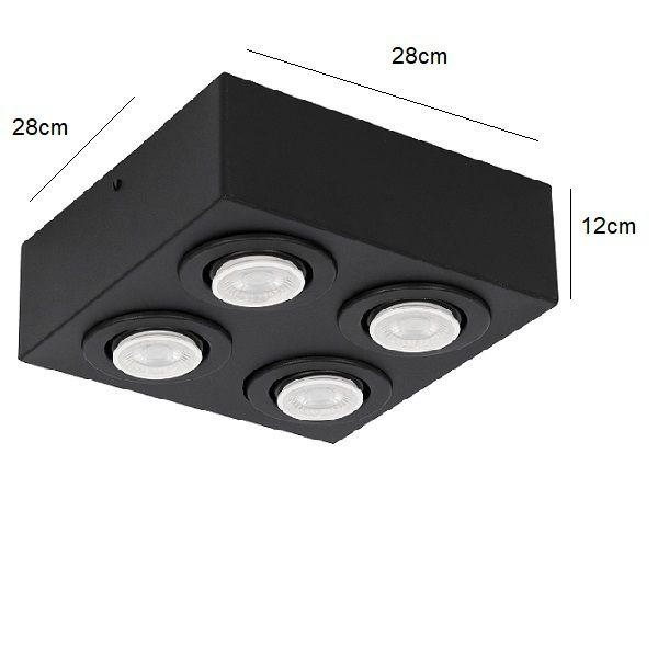 Plafon Spot Sobrepor Direcionável 4 Lâmpadas Par20 Preto RL