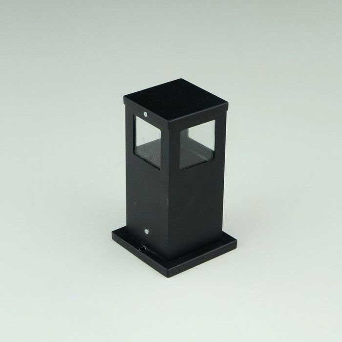 Poste Balizador de Jardim 4 Vidros Pequeno 25cm em Alumínio Preto