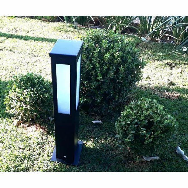 Poste Balizador de Jardim 4 Vidros Retangular 30cm em Alumínio Preto