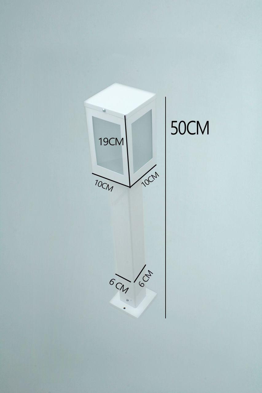 Poste Balizador de Jardim 4 Vidros Retangular 50cm em Alumínio Branco
