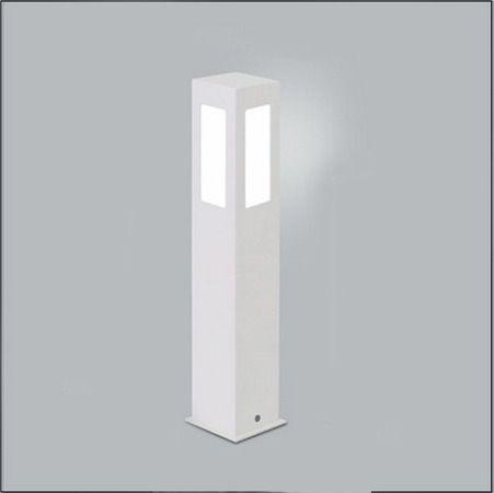 Poste Balizador de Jardim 4 Vidros Retangular 50cm em Alumínio Branco RL