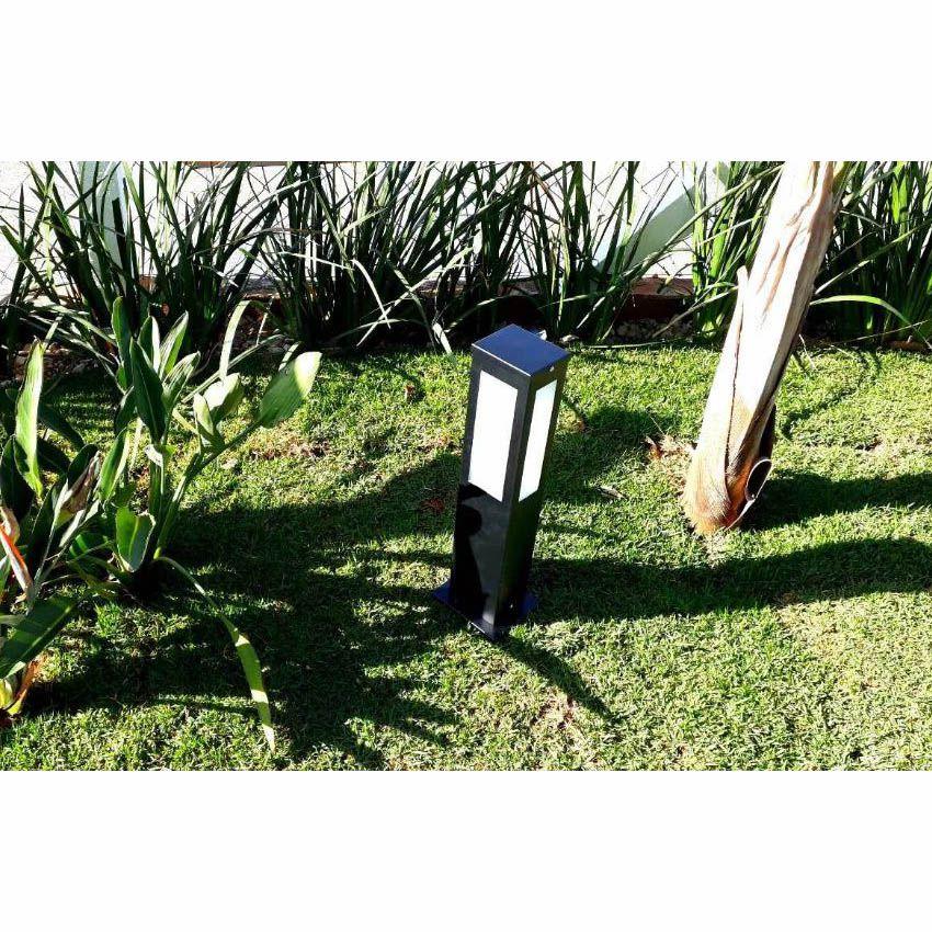 Poste Balizador de Jardim 4 Vidros Retangular 50cm em Alumínio Preto RL