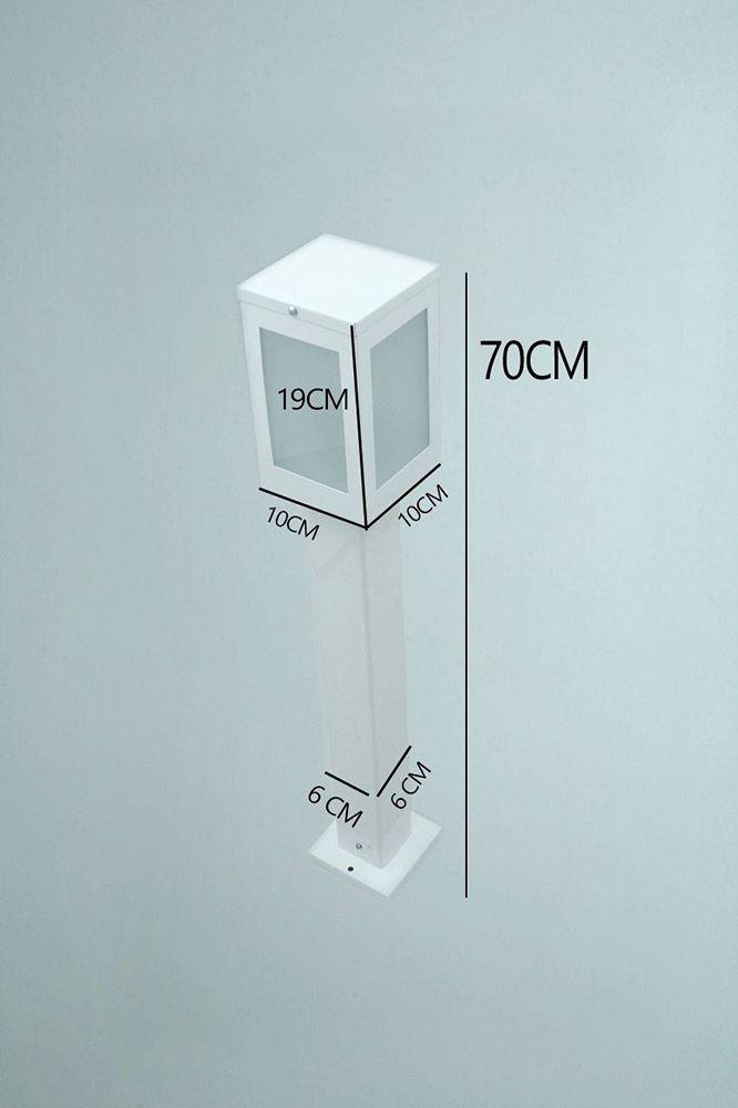 Poste Balizador de Jardim 4 Vidros Retangular 70cm em Alumínio Branco RL