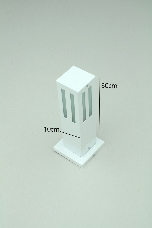 Poste Balizador de Jardim Vidro Friso 30cm em Alumínio Branco RL