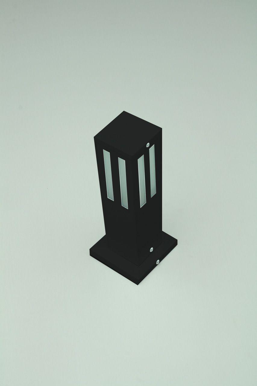 Poste Balizador de Jardim Vidro Friso 30cm em Alumínio Preto RL