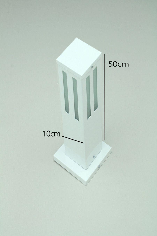 Poste Balizador de Jardim Vidro Friso 50cm em Alumínio Branco RL