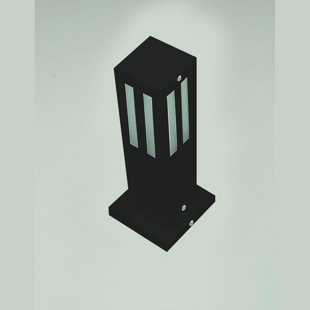 Poste Balizador de Jardim Vidro Friso 50cm em Alumínio Preto RL