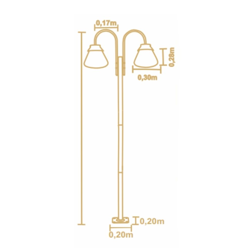 Poste De Jardim 230cm Memories 2 Lamp Metal Preto Madelustre