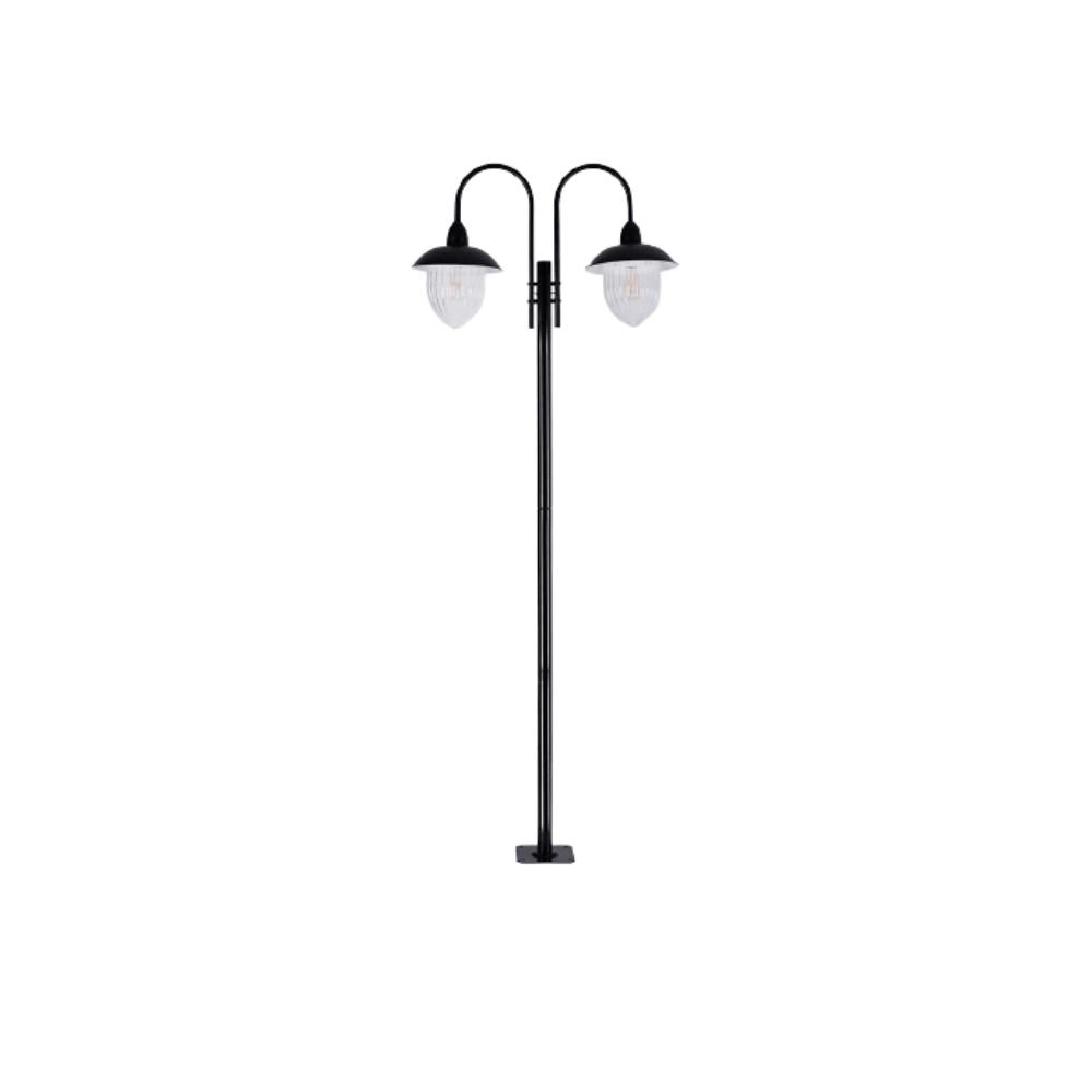 Poste De Jardim 230cm  Veneza 2 Lamp Preto Madelustre