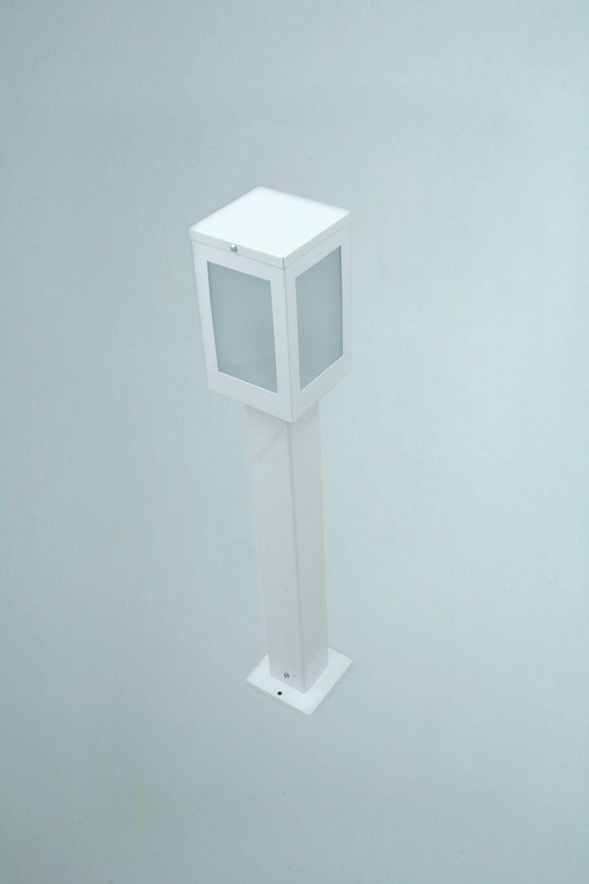 Poste Balizador de Jardim 4 Vidros Retangular 30cm em Alumínio Branco RL