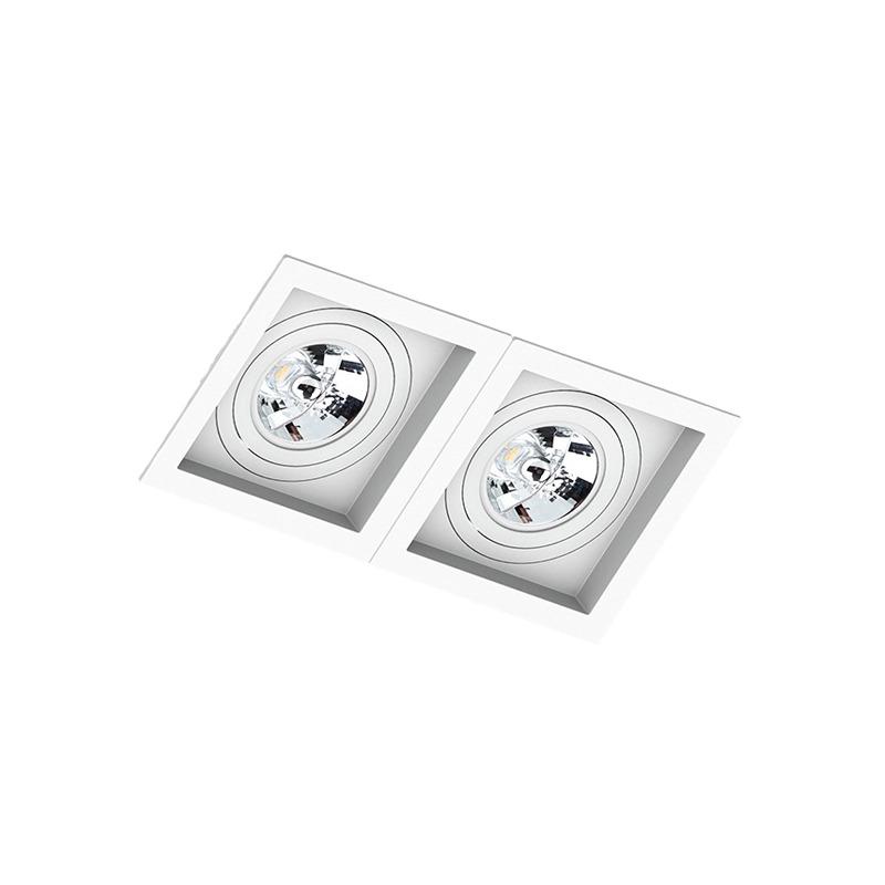 Spot Duplo Embutir Quadrado Recuado Branco Para Ar111 Gu10