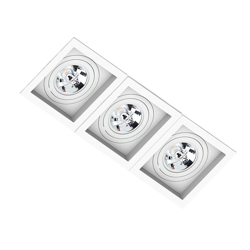 Spot Triplo Embutir Quadrado Recuado Branco Para Ar111 Gu10