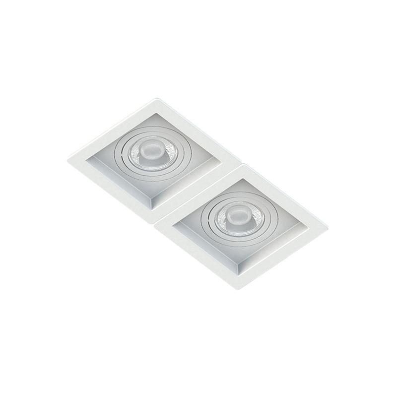 Spot Duplo Embutir Quadrado Recuado Branco Para Dicróica Gu10 Mr16