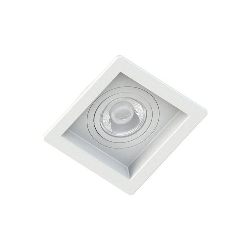 Spot Embutir Quadrado Recuado Branco Para Dicróica Gu10 Mr16