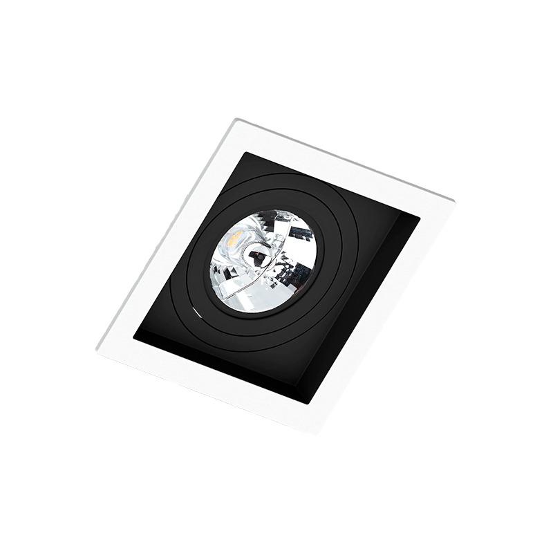 Spot Embutir Quadrado Recuado Branco Fundo Preto Ar111 Gu10