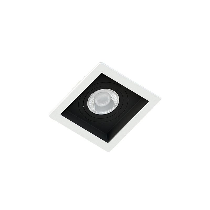 Spot Embutir Quadrado Recuado Branco Fundo Preto Par20 E27