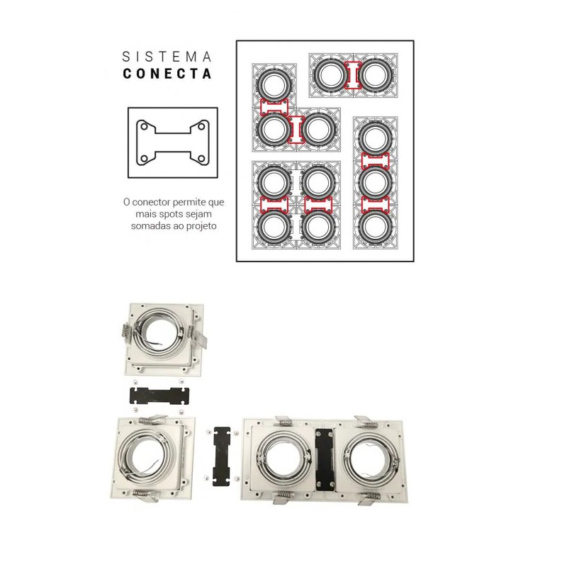 Spot Embutir Quadrado Recuado Preto Para Par30 E27