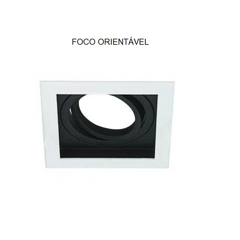 Spot Quadruplo Embutir Quadrado Recuado Branco Fundo Preto Mini Dicróica Gu10 Mr11