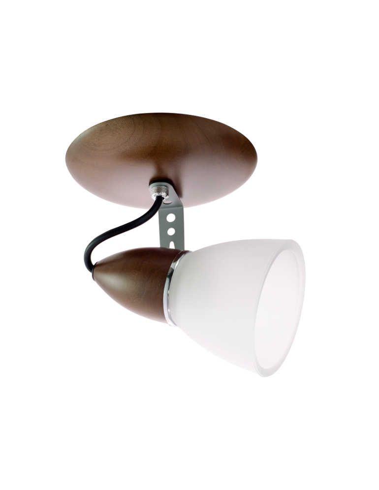 Spot Lumi 1 Lâmpada Direcionável Madeira Imbuia e Vidro Madelustre