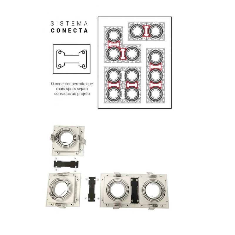 Spot Triplo Embutir Quadrado Recuado Preto Para Dicróica Gu10 Mr16