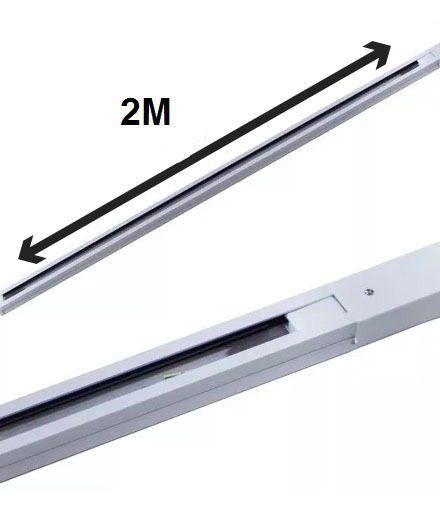 Trilho Eletrificado 2m + 8 Spot Led 7w 3000k Bivolt Branco