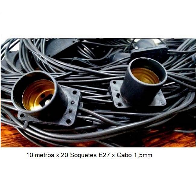 Varal de Luz com 20 Lâmpadas Led Bolinha 4,5w 10mts E27 Preto