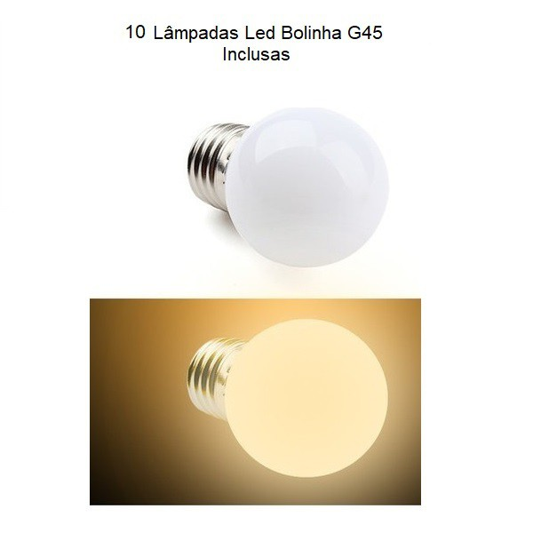 Varal de Luz com 10 Lâmpadas Led Bolinha 4,5w 5mts E27 Preto