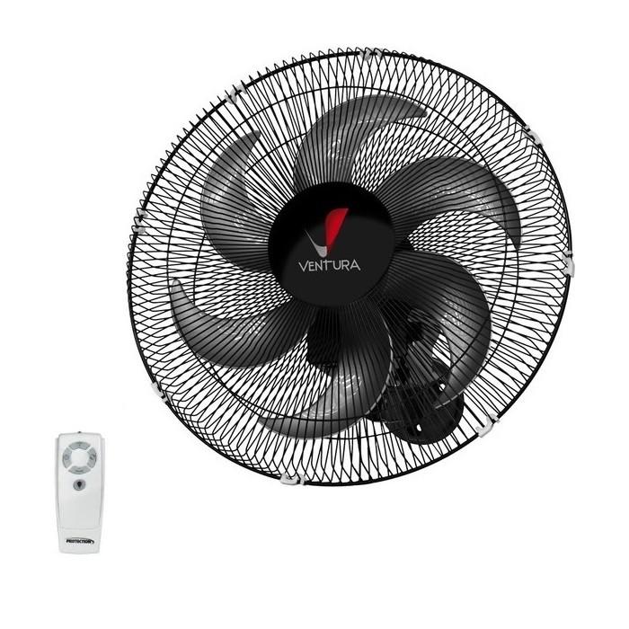 Ventilador de Parede Oscilante Com Controle Remoto Ventura 50cm Preto Bivolt