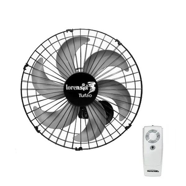 Ventilador de Parede Com Controle Remoto Tufão 50cm Preto Bivolt Loren Sid