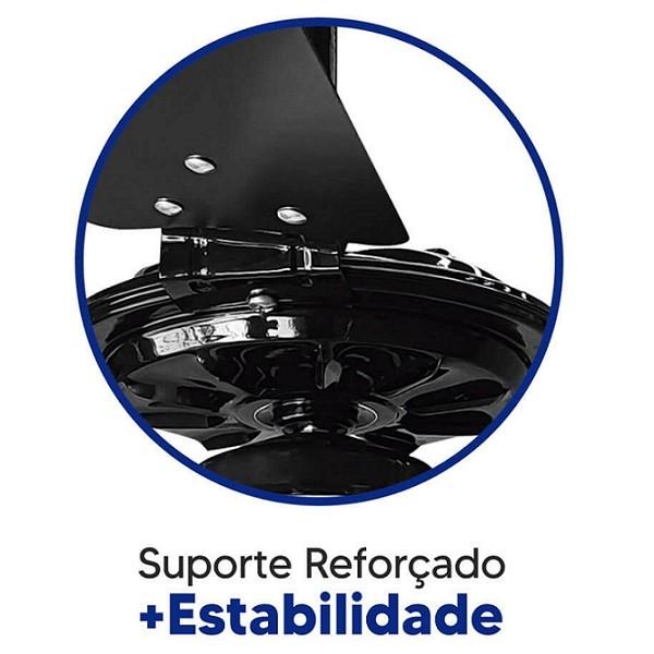 Ventilador de Teto com Controle Remoto Rico 150w e 180w Preto Pás Pretas Ventex