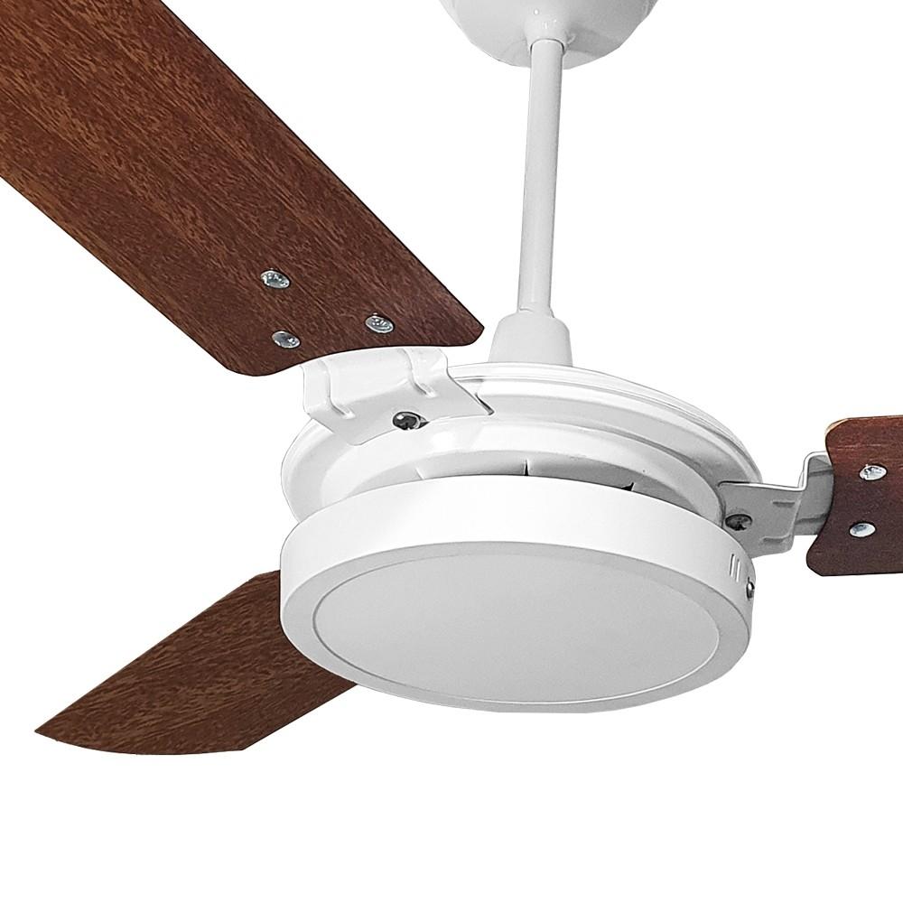 Ventilador de Teto com Controle Remoto Valen LED 18w Branco Mogno Ventex