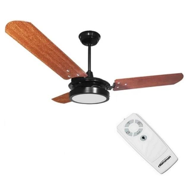 Ventilador de Teto com Controle Remoto Valen LED 18w Preto Mogno Ventex