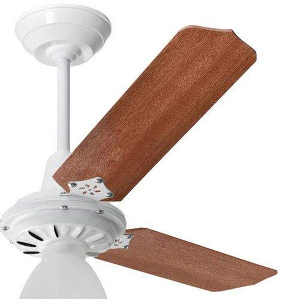 Ventilador de Teto com Controle Remoto Lumi Loren Sid Branco Pás Mogno