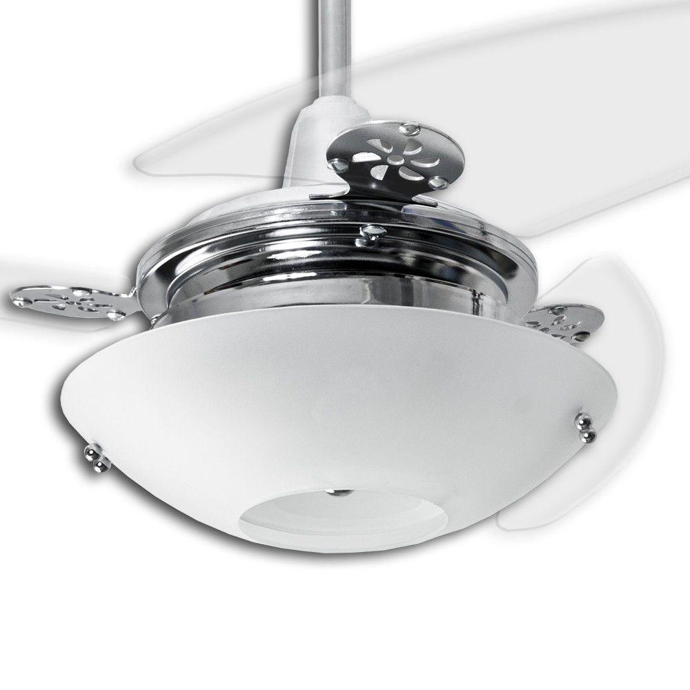 Ventilador de Teto Onix Cromado Loren Sid Redondo Pás Transparentes M2
