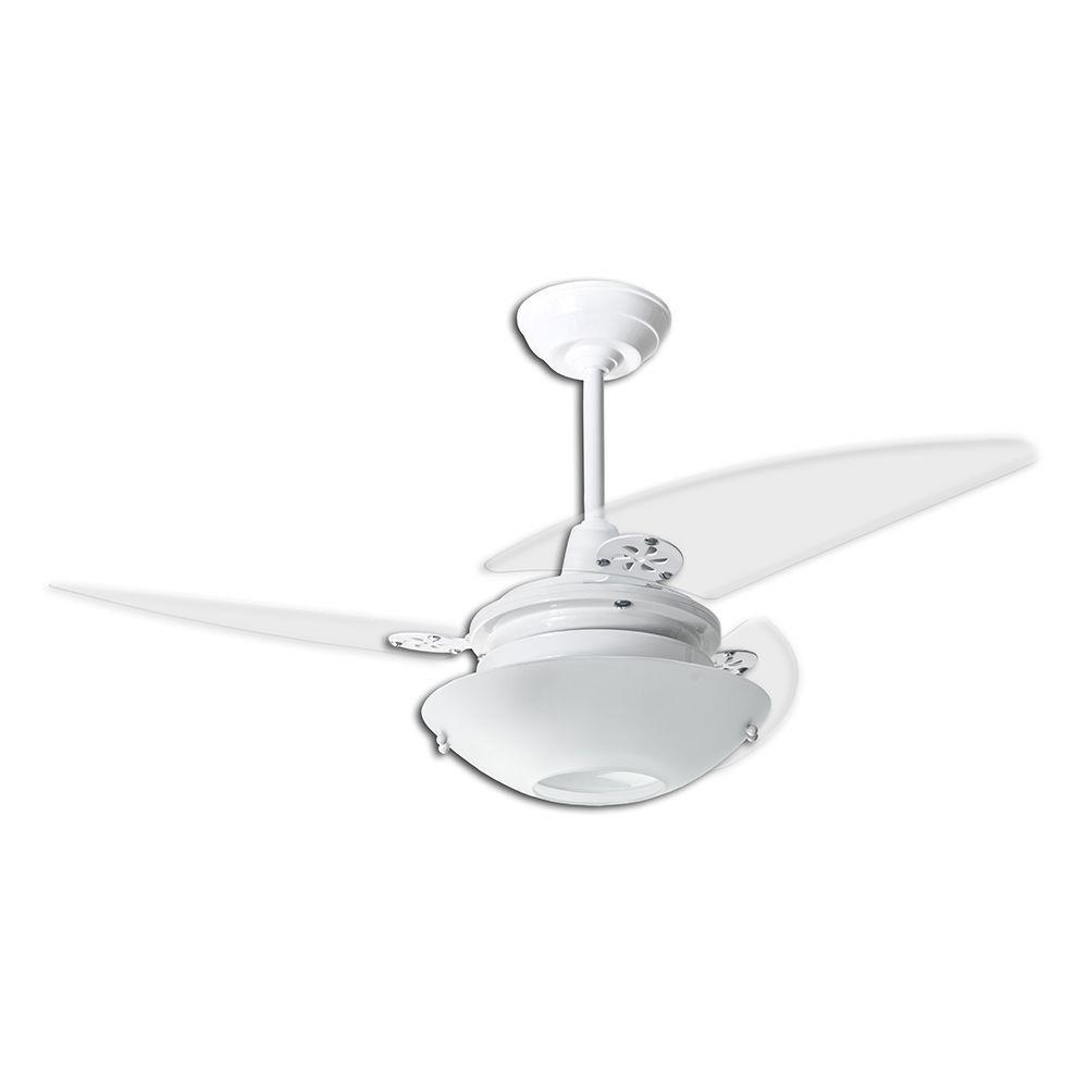 Ventilador de Teto Onix Redondo Loren Sid Branco Pás Transparentes M2