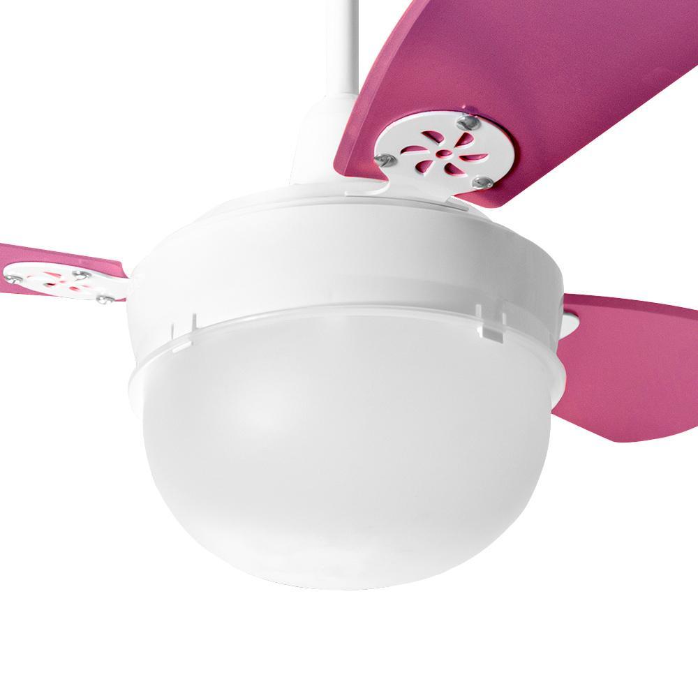 Ventilador de Teto Infantil Platun Branco Loren Sid Pás Rosa Pink M2