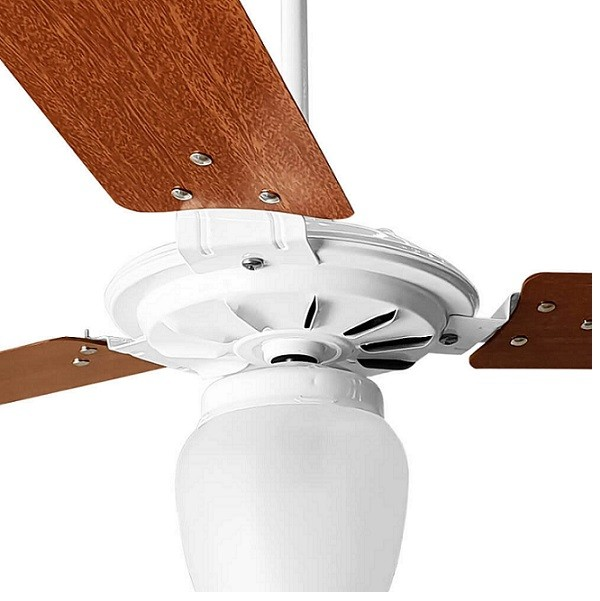 Ventilador de Teto com Controle Remoto Rico 150w e 180w Branco Pás Mogno Ventex