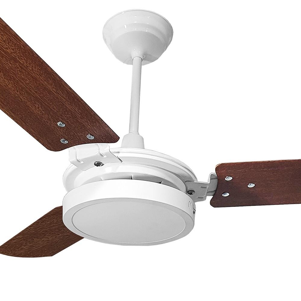 Ventilador de Teto Valen LED 18w Branco Pás Mogno Ventex