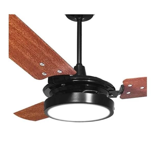 Ventilador de Teto Valen LED 18w Preto Pás Mogno Ventex