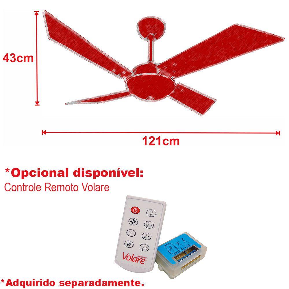 Ventilador de Teto Volare Branco Fosco Tech Office  4 Pás Branco