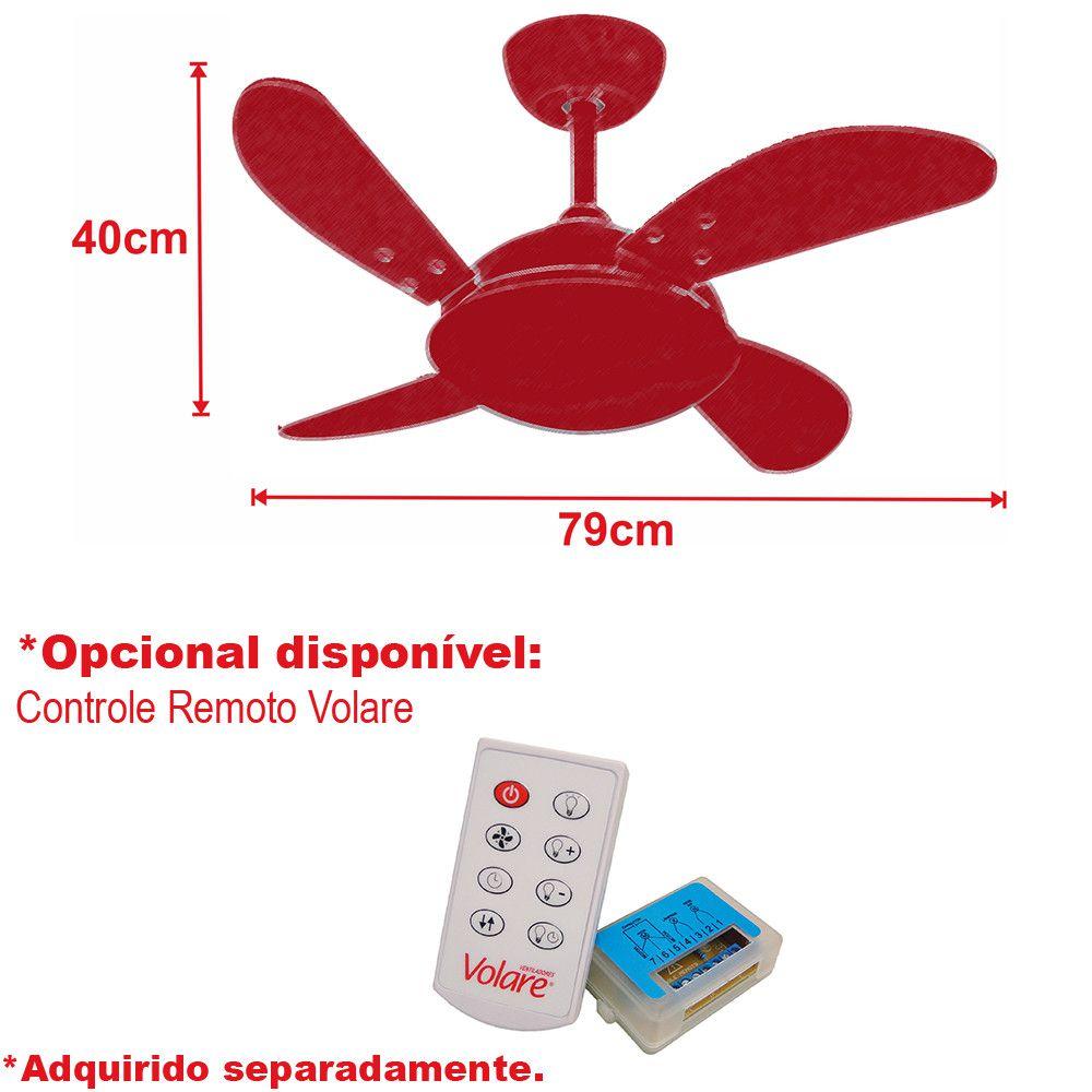 Ventilador de Teto Volare Branco Fosco VD300 Mini Fly 4 Pás Tabaco